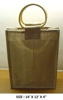 Natural Jute Three Bottle Wine Packaging Bag