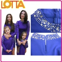 In stock hot sale high quality fashion children new model girl party dress kid wear