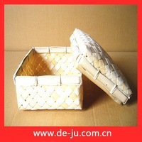 Square Shape With Cover Bamboo Batten Weave Cute Cheap Offering Basket