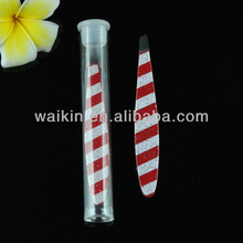 Mini Oval Slant Tweezer Red and White Print