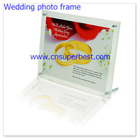 Transparent sloping acrylic wedding photo frame with screw