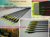"archery bow arrow 30"" fiberglass arrow black completed with nock insert tip vanes archery shooting equipement"