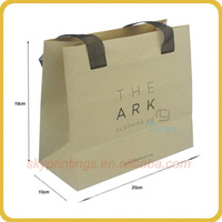 Hot sale strong recycled logo printing cheap brown paper bags small with ribbon handles wholesale