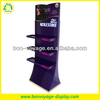 Floor wooden hair products merchandising display stand