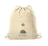 Printing recycled eco-friendly soft touch cotton drawstring backpack