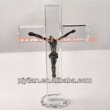 high quality blank clear religious crystal glass cross