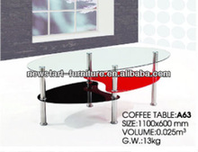 Modern new design oval shape glass coffee table with good quality