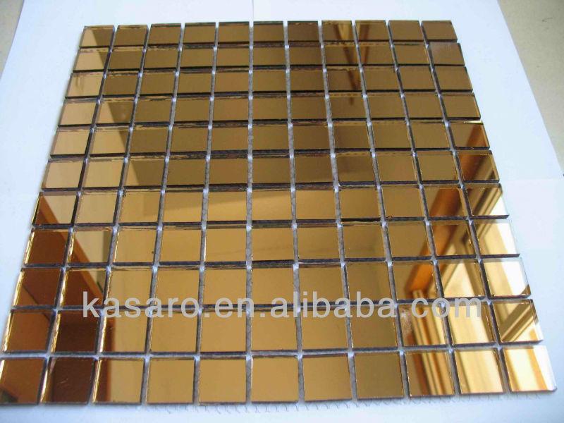 Gouden Mozaiek Tegels : Vierkante spiegel gouden kleur glas mozaïek tegel buy