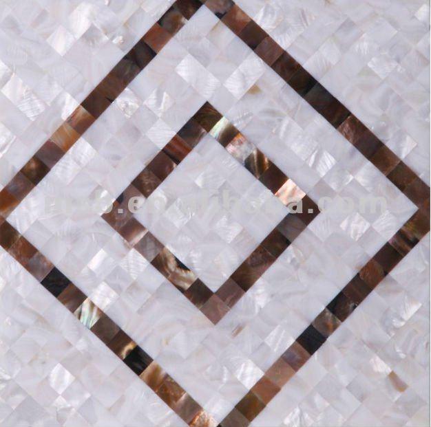 Mosaikfliesen Luxus Glasmosaik m Ornamenten NEU Muscheln u blau oder beige