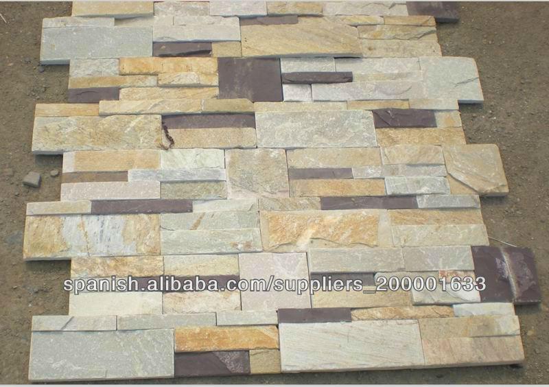 Pizarra de piedra apilados piedra cultural para - Piedras pared interior ...