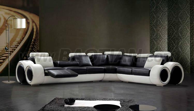 Genial Baotian Furniture Neue L Förmige Moderne Schwarze Ledersofa Design