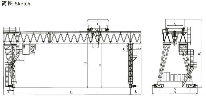 MG model double girder hook gantry crane for Project