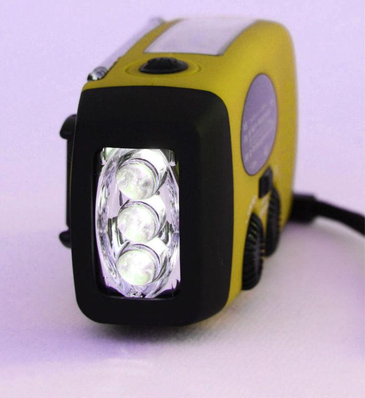 Portátil 3 brilhante branco LED lanterna manivela solar rádio