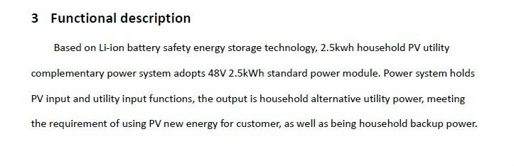 2.5kwh standard household energy storage system