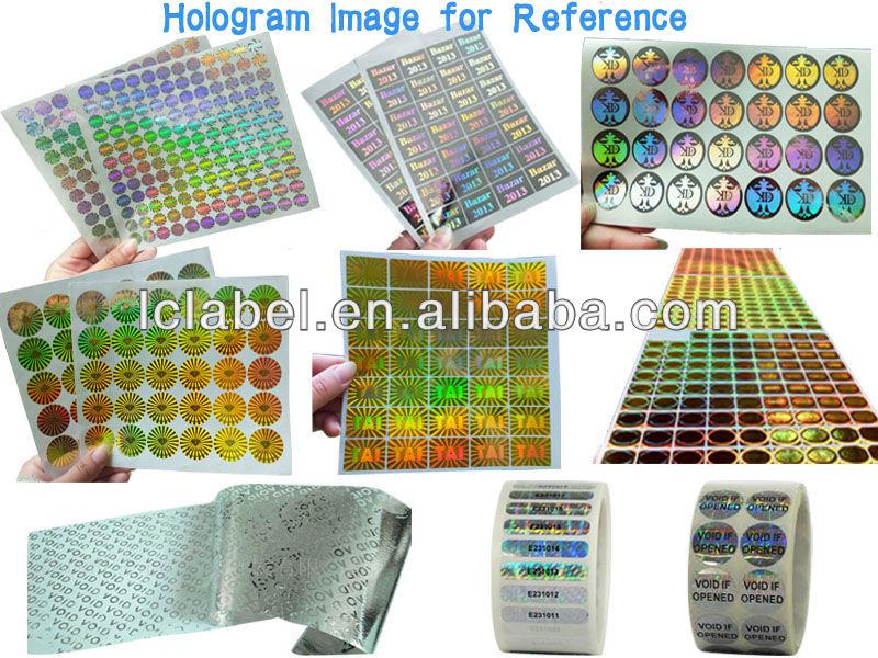 2012 hot top benutzerdefinierte hologramm hologramm aufkleber laser