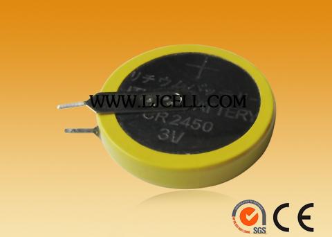 474a71181 3 V Botón del litio de la batería celular CR2450 LIR2450 batería con  soldadura DIP 3
