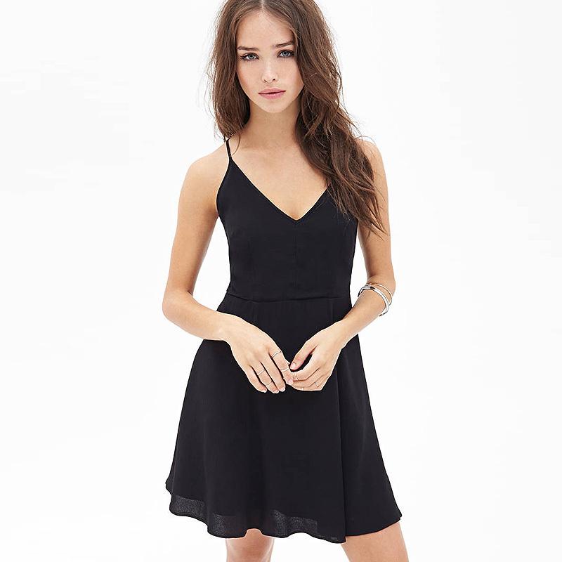 Women New Fashion Black Chiffon Strap Short Style ...