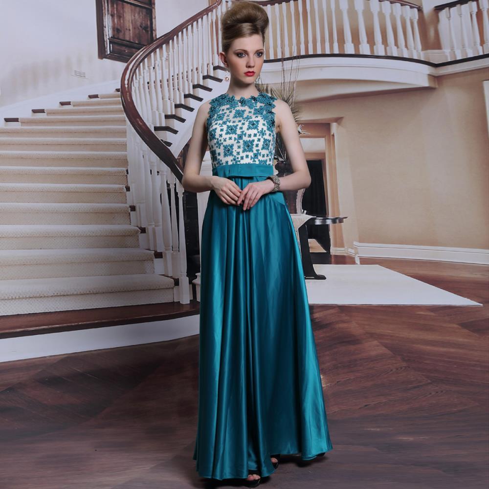 Vestido Longo Limited Defline A-line Emerald Appli...