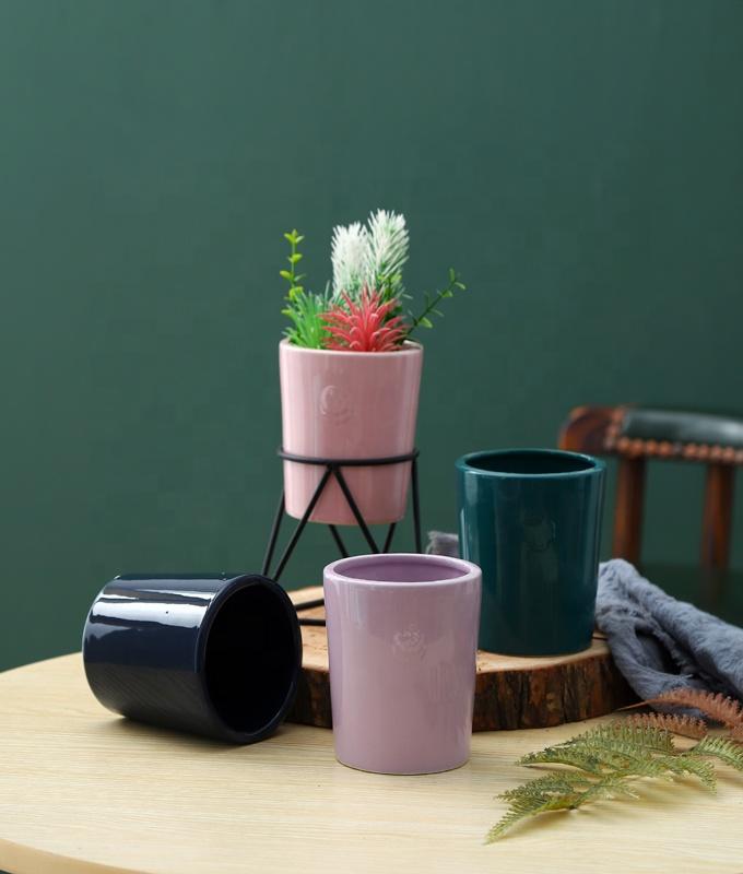 الحجري زهرة وعاء مع حامل معدني أصيص نباتات من السيراميك مع خشبي الوقوف