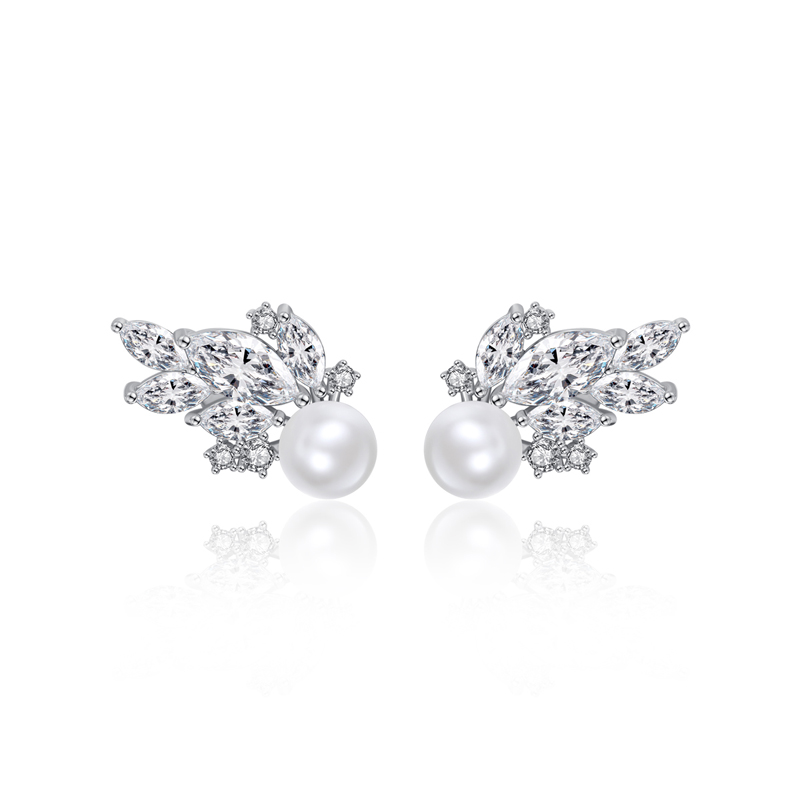 LUOTEEMI Korean Style <strong>Flower</strong> Stud <strong>Gold</strong> Plated Pearl <strong>Earring</strong> with Shiny CZ Zircon for Bridal Wedding