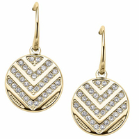Stainless steel Big round pad 18k gold filled diamond white crystal stone filled in layers of letter V shape hoop earrings