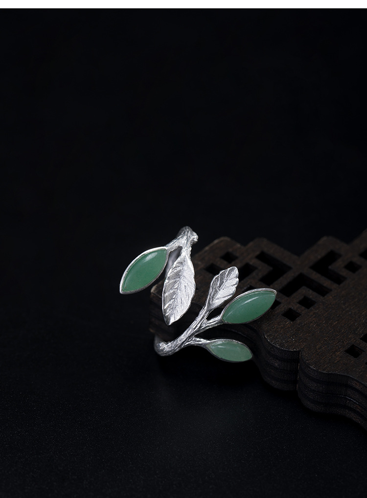 Inlaid dongling jade leaf retro ring opening can adjust the antique art S925 silver ring jewelry wholesale high quality