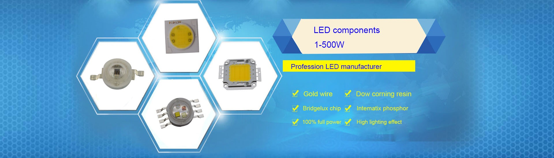 De gran rendimiento LED chip amarillo en placa 1w highpower