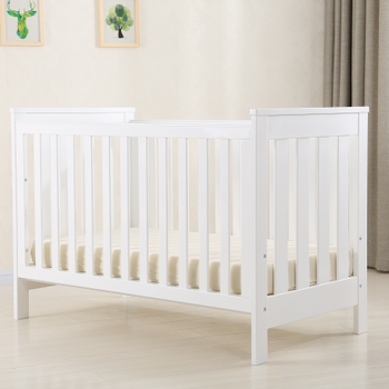 White convertible Wooden Baby cot Multi-function swing baby crib