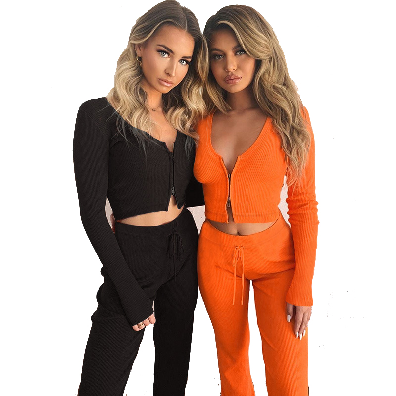 Women Set Spring Casual Tracksuit Women 2 Piece Set Top And Pants Zipper Outwear Sexy Sweat Suit