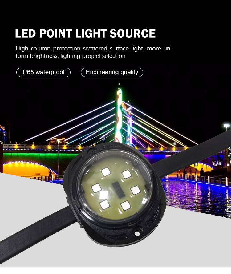 Hiburan Addressable 30 Mm 50 Mm PU Tahan Air Gule Pixel LED CAHAYA