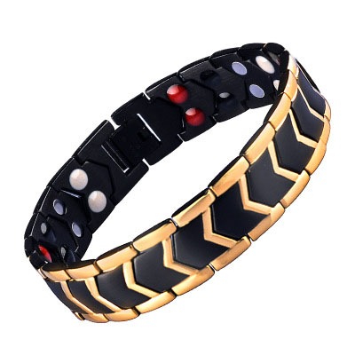 High Quality Gold Plating Chain Snake Stainless Steel Bracelet Negative Ion Balance Bio Magnetic Bracelet