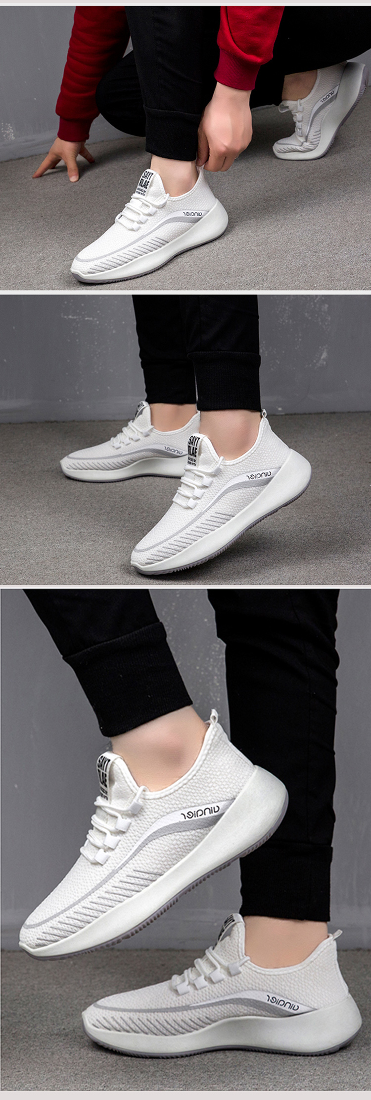 China factory white breathable custom outdoor sports sneakers men casual shoes