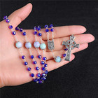 Blue Glass Stone Bead Cross Pendant Necklace Rosary ReligionCatholic Handmade Necklace Jewelry Good Quality