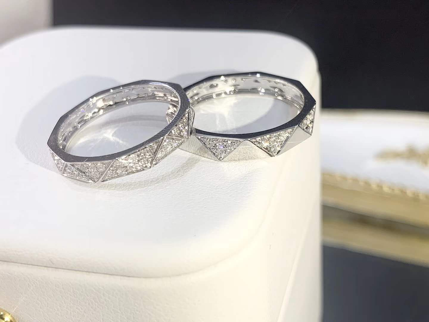 Geometric Custom Jewelry Luxury Real Diamond Wedding Couple Rings Pure Gold Wedding Band Ring Set Ring
