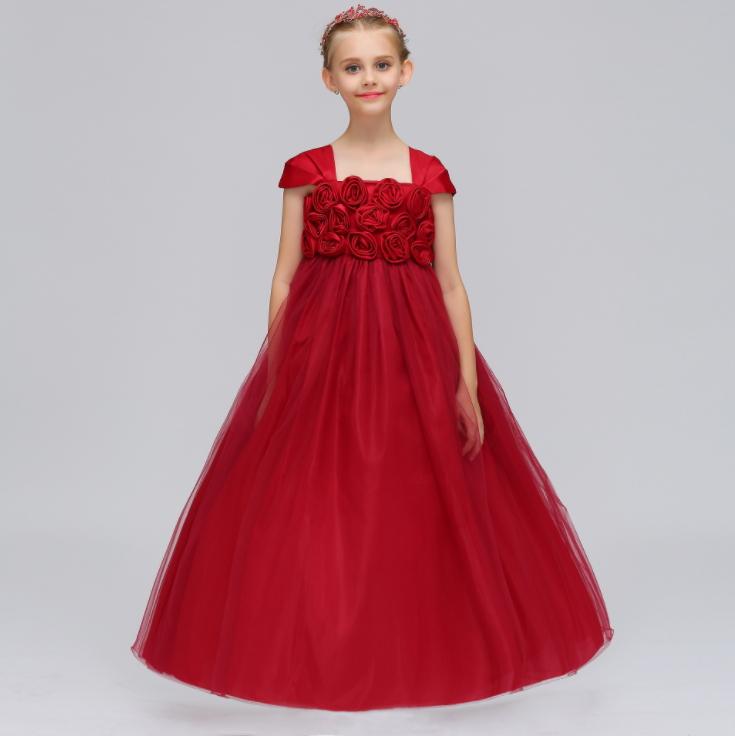 Children's dress princess dress large lace mesh girls long