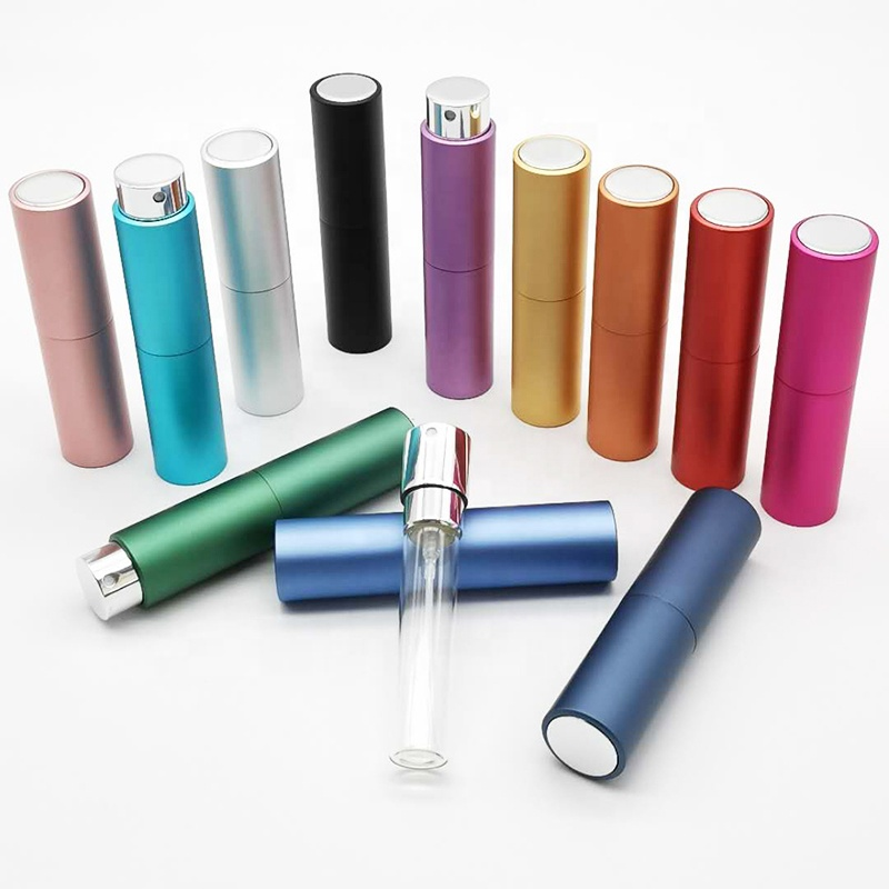 RTS Round 5ml 10ml Twist Up Metal Spray <strong>Bottle</strong> 8ml Aluminium Portable Refillable Perfume Atomizer