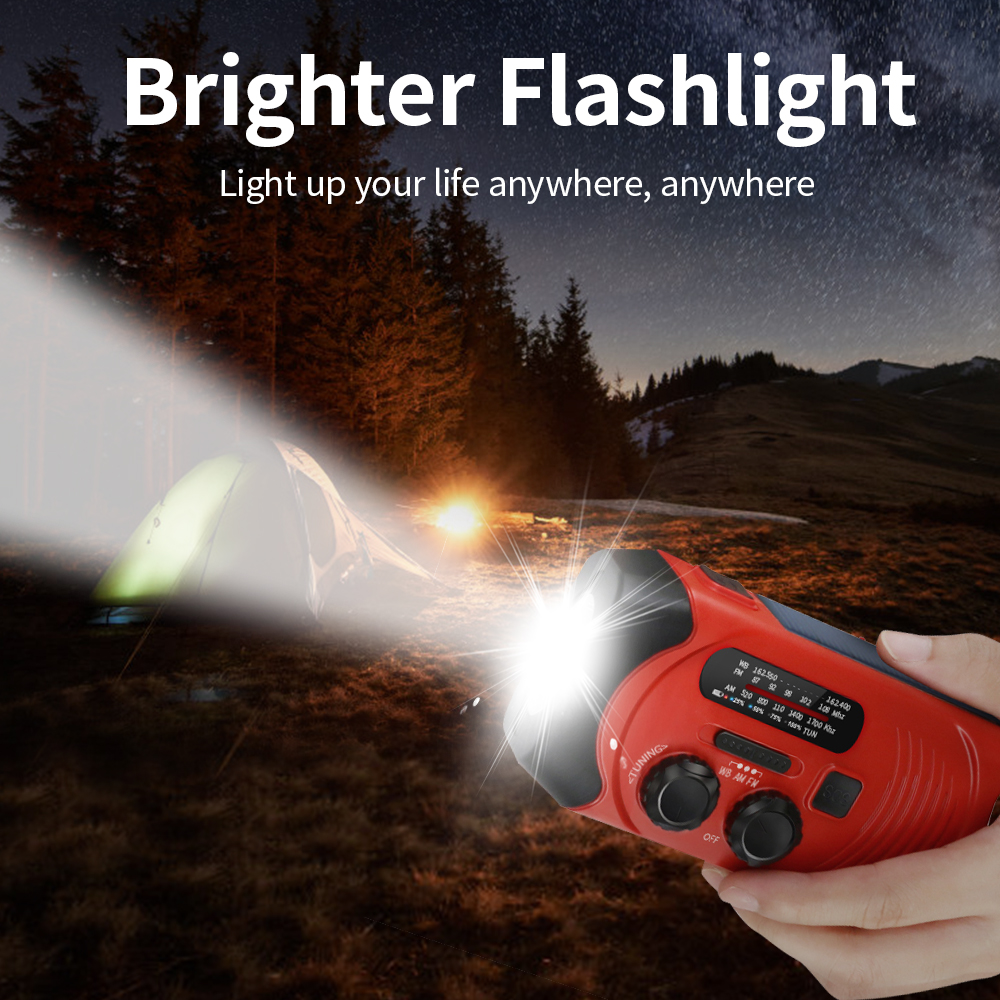 Emergency solar hand crank led flashlight noaa am fm weather portable radio