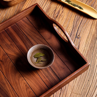 High quality with handle black walnut solid wood tea food serving tray