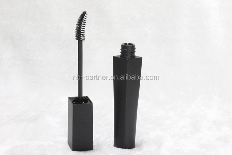 Hot sale unique design cosmetic packaging empty black mascara tube with brush