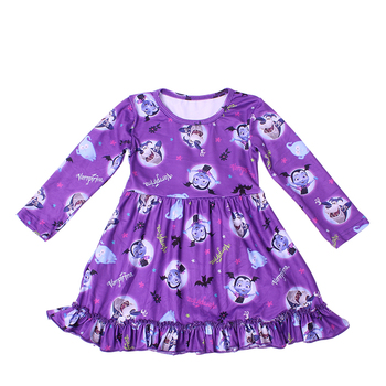 2019 new latest design baby girls long ruffle sleeve party dresses baby frocks design cartoon cute twirly dress princess dress