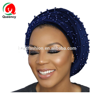 HQT12 Queency High Quality Velvet Turban Headwraps Headtie with Beaded Net Lace Head Scarf for African Women