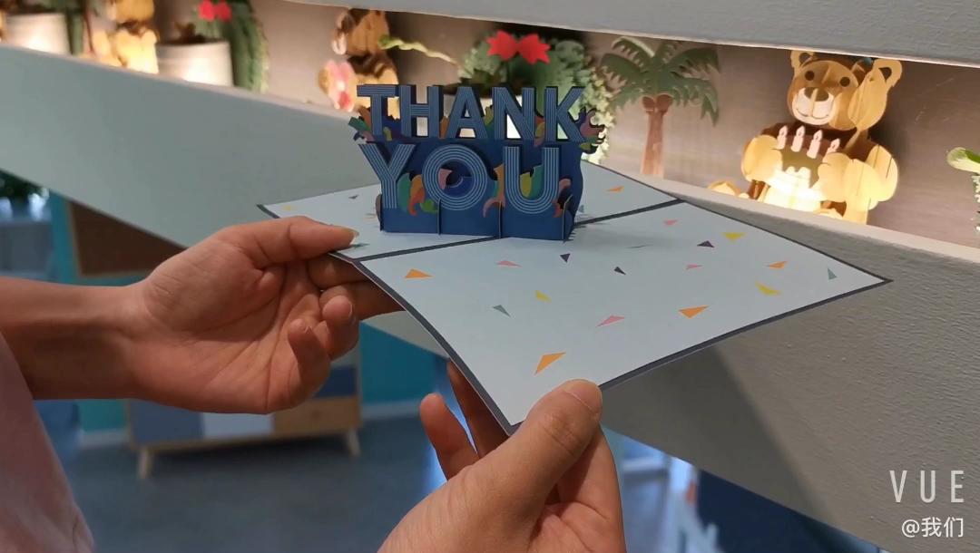 Paper Craft Printing 3d Pop Up Thank You Card Custom With Logo