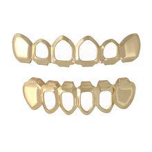 1 комплект хип-хоп золотые зубы Grillz Топ и низ грили стоматологические рот в стиле Панк зубы шапки Косплей вечерние зуб рэппер ювелирные изде...(Китай)