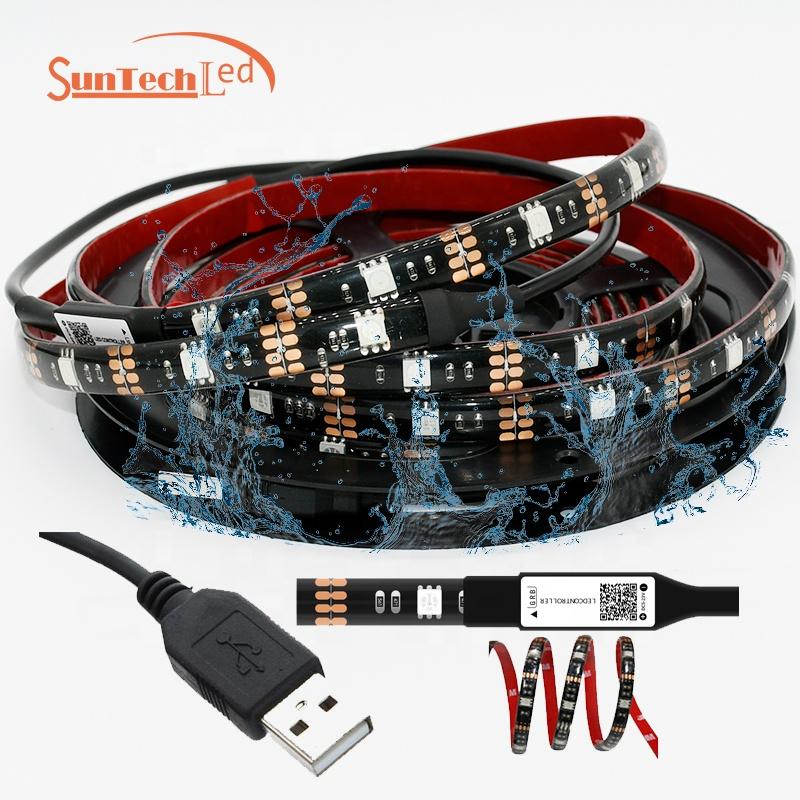 5V USB RGB LED Kitchen 2M TV Backlight Waterproof IP65 USB LED Strip light 5050 RGB  led backlight manufacturers
