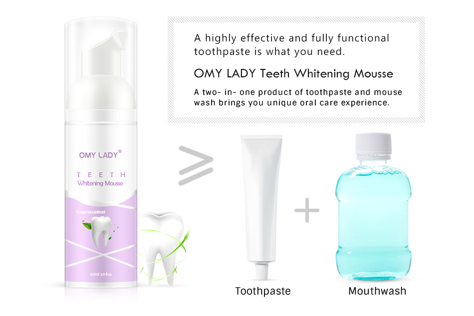 OMYLADY Professional Teeth Whitening Essence Cleaning Mousse Toothpaste Tooth Whitening Treatment