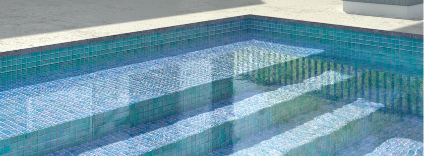Hot sale Glazed glass blue mosaic for swimming pool tile