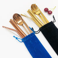 8pcs Korean Golden Spoon Fork Chopstick Straw Set Reusable Outdoor Dinnerware Cutlery Set with Cleaning Brush & Bag
