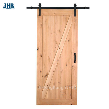 JHK-SK07 Pyinkado Wood Home Depot Shaker Style Corner Sliding Barn Door With Hardware