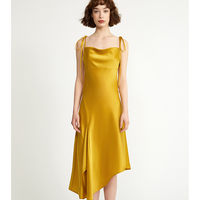 Spring and Summer 2019 new ladies resort sexy split oblique sling dress, yellow
