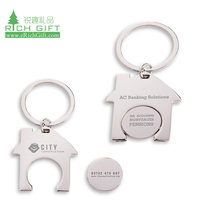 custom house shape euro uk metal free blank token trolley coin lock keyring shopping key chain coin trolley for supermarket
